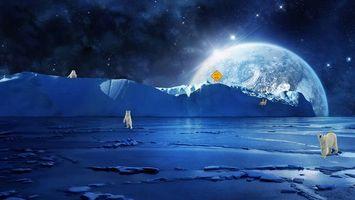 Заставки северный полюс, белые медведи, планета