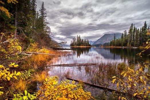 Фото бесплатно Lake Wenatchee, Washington, озеро, осень, остров, деревья, пейзаж