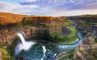 Бесплатные фото холмы,трава,каньон,водопад,река,небо