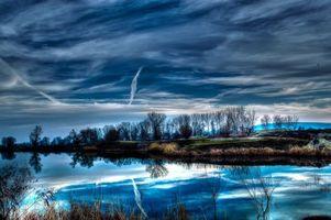 Фото бесплатно река, закат, небо