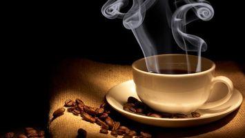 Бесплатные фото блюдце,чашка,кофе,пар,мешок,зерна