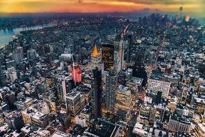 Фото бесплатно New-York, city, ночной город, огни, дома, небоскребы
