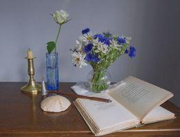 Photo free book, vase, bouquet