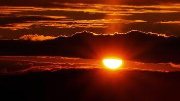 Фото бесплатно закат, красное солнце, облака
