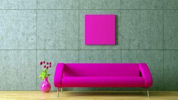 Бесплатные фото диван,розовий,ваза,картина,стиль,интерьер,разное