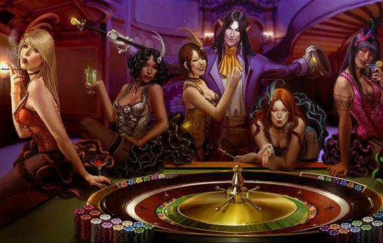 Бесплатные фото фишки,девушки,рулетка,казино
