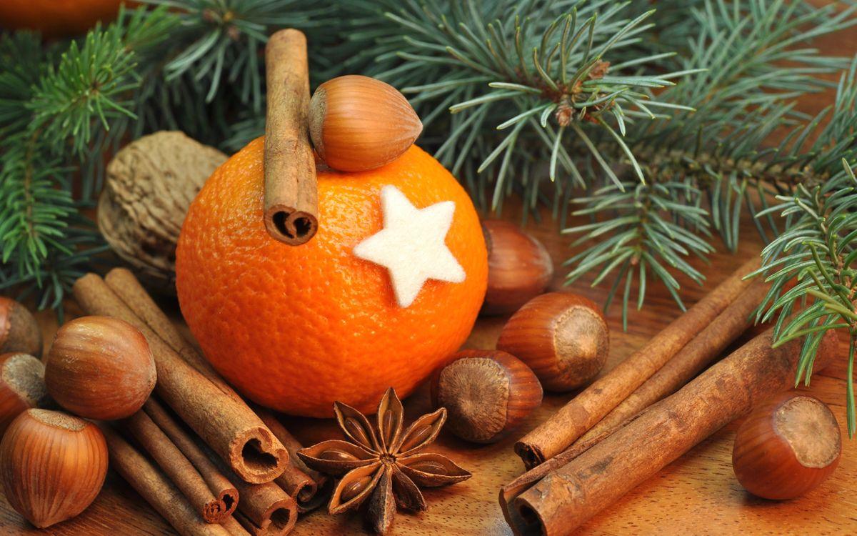 Фото бесплатно апельсин, звездочка, ель - на рабочий стол