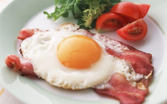 Photo free fried eggs, bacon, tomato
