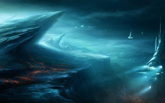 Фото бесплатно горы, скалы, камни, небо, тучи, огонь, лава, корабли, спутники, фантастика