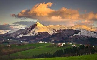 Бесплатные фото горы,вершины,снег,деревья,дома,пейзажи,природа