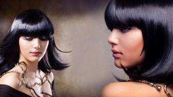 Обои лицо, волосы, черные, глаза, губы, шея, девушки