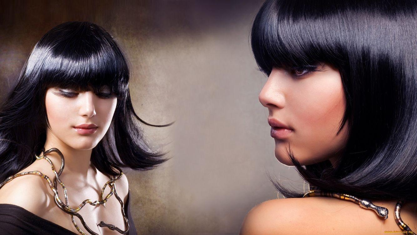 Фото бесплатно лицо, волосы, черные, глаза, губы, шея, девушки, девушки