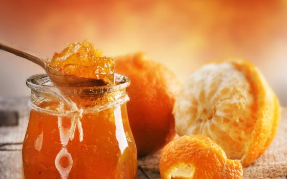 Photo free honey, jam, orange