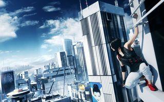 Бесплатные фото mirrors edge-2,фэйт на уступе небоскрёба,город,облака,небоскрёбы,плакат,игры
