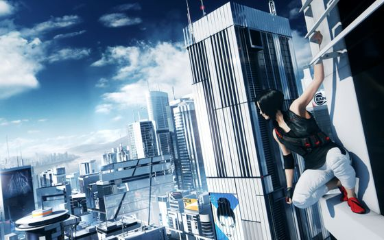 Photo free mirrors edge-2, fait on a ledge of a skyscraper, city