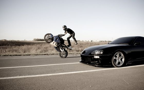 Photo free motorcyclist, auto, car