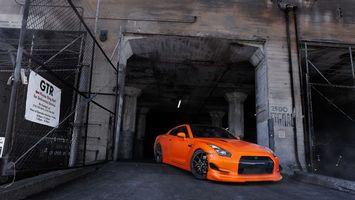 Заставки nissan, gtr, оранжевый, фары, решетка, диски, черные, машины