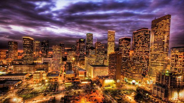 Фото бесплатно ночной, нью-йорк, америка, дома, небоскребы, свет, окна, освещение, дороги, фонари, город