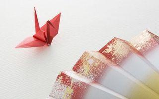 Бесплатные фото оригами,журавлик,бумага,веер,поделка,стол,красный
