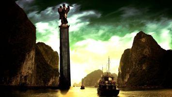 Фото бесплатно памятник, горы, река