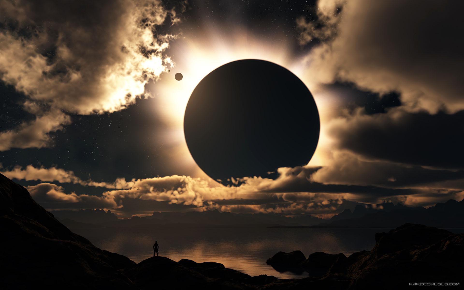 Обои парад планет, затмение, луна, планета