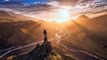 Фото бесплатно пейзаж, горы, солнце, пейзажи
