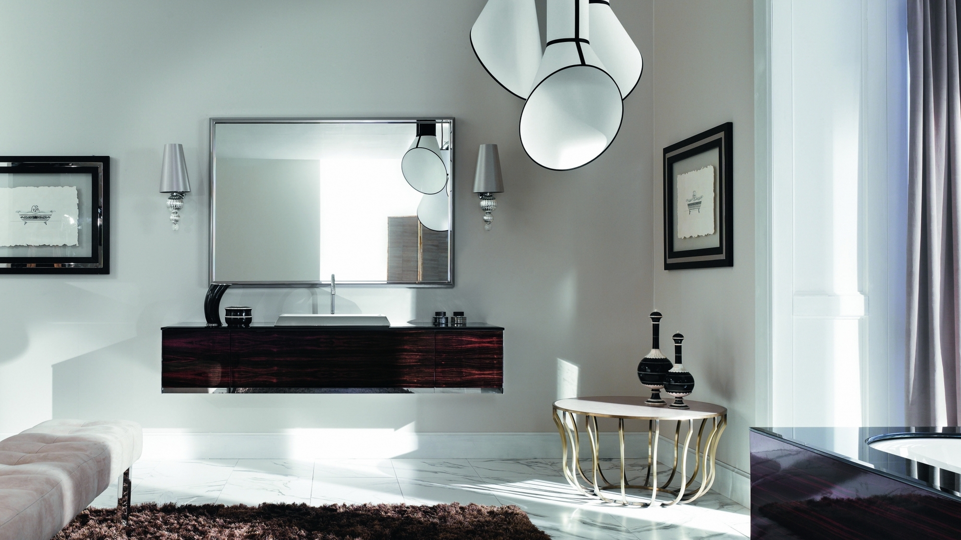 зеркало, столик, люстра
