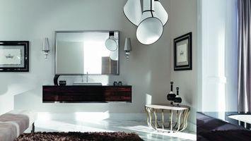 Заставки зеркало, столик, люстра