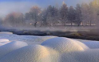 Фото бесплатно зима, река, снег