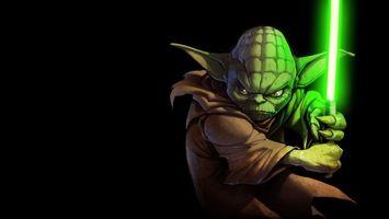 Фото бесплатно yoda, йода, меч, star wars, зеленый