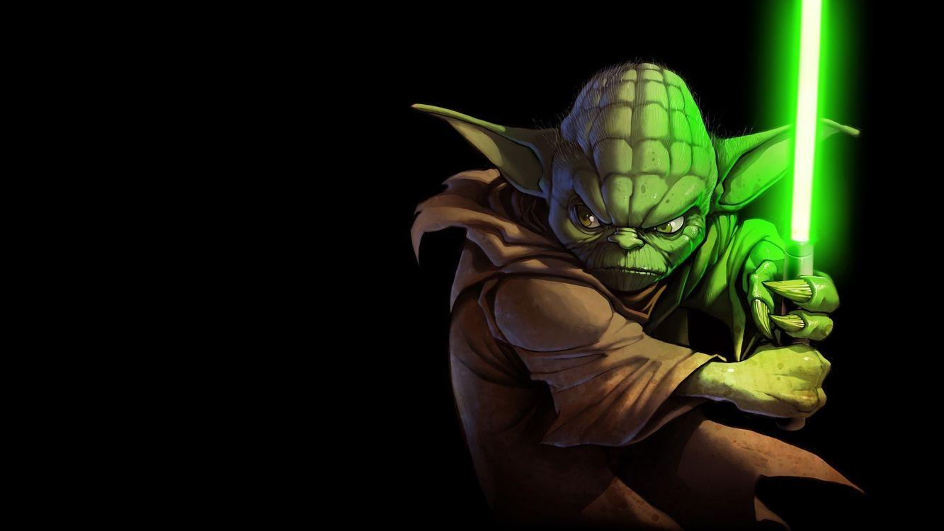 Фото бесплатно yoda, йода, меч, star wars, зеленый, разное