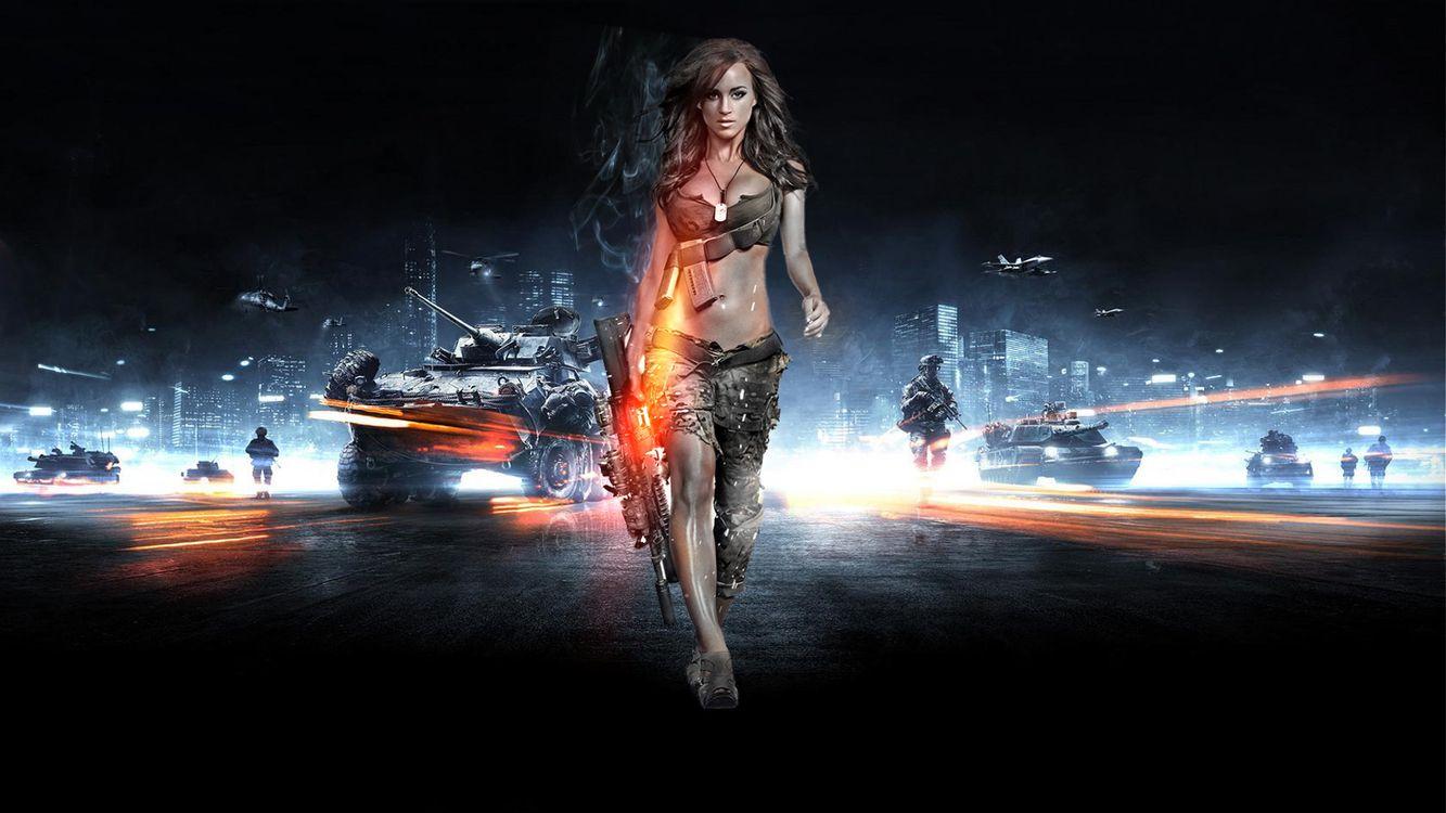 Фото бесплатно battlefield, армия, девушка, солдат, оружие, танк, город, обои, картинка, игры, игры