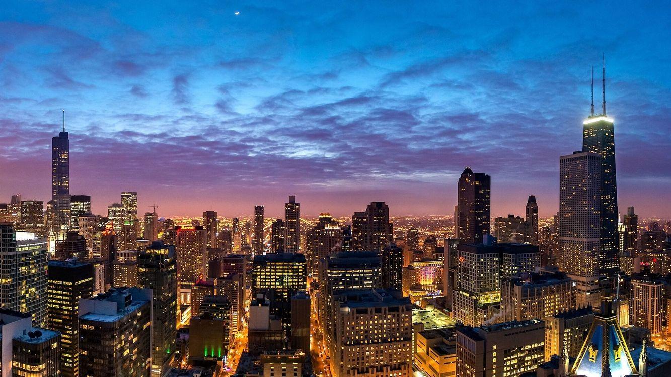 Фото бесплатно небоскребы, огни, высотки - на рабочий стол