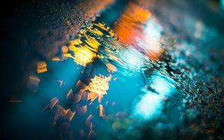 Бесплатные фото дорога,лужа,отражение,фонари,город,макро
