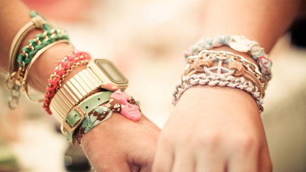 руки, женская, мужская, часы, браслеты