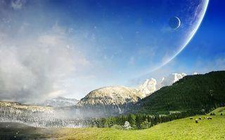 Photo free mountains, grass, planet
