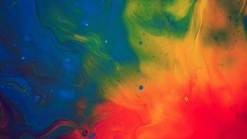 Обои краски, полотно, цвета, синий, красный, зеленый, жидкие, капли, разводы, абстракции, разное, текстуры