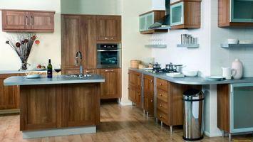 Photo free kitchen, table, wine