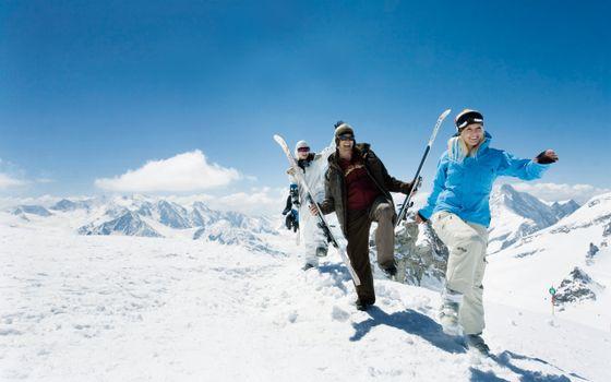 Фото бесплатно лыжи, люди, друзья