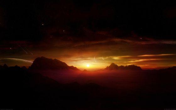 Бесплатные фото марс,звезды,солнце,закат,горизонт,горы,скалы,кометы,планета,жизнь,космос
