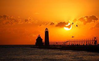 Бесплатные фото маяк,берег,море,океан,вода,закат,солнце