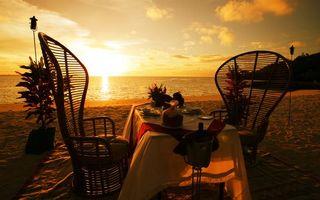 Фото бесплатно стулья, океан, горизонт