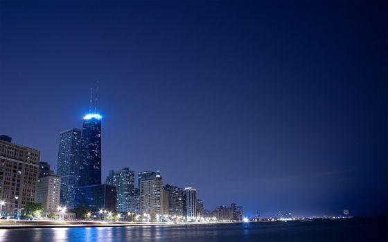 Фото бесплатно ночь, залив, дома