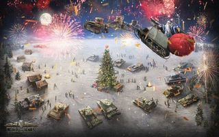 Бесплатные фото world of tanks, новый год, елка, украшения, дед мороз, сани, подарки