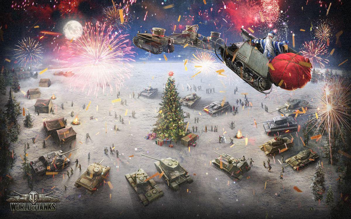 Фото бесплатно world of tanks, новый год, елка, украшения, дед мороз, сани, подарки, танки, артилерия, игры, игры