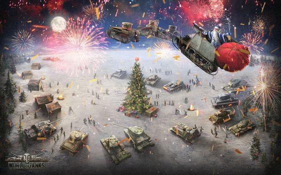 Фото бесплатно world of tanks, новый год, елка