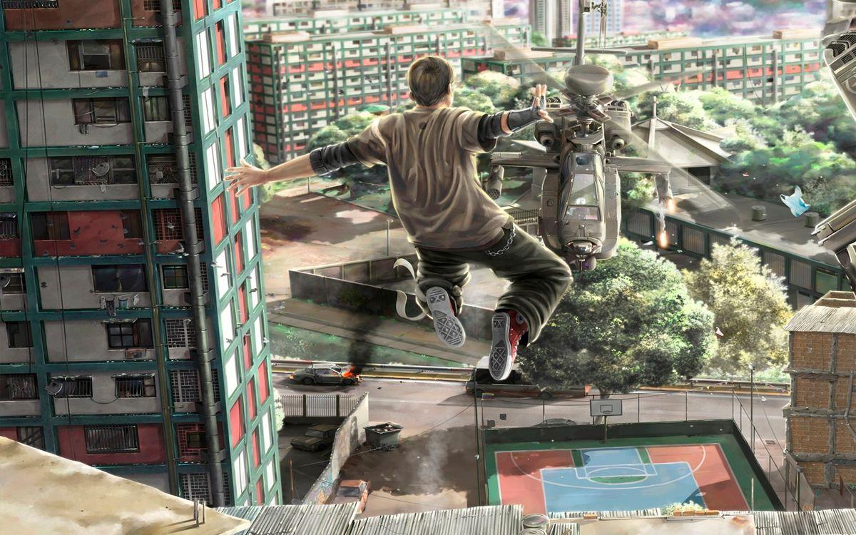 Фото бесплатно парень, прыжок, дома - на рабочий стол