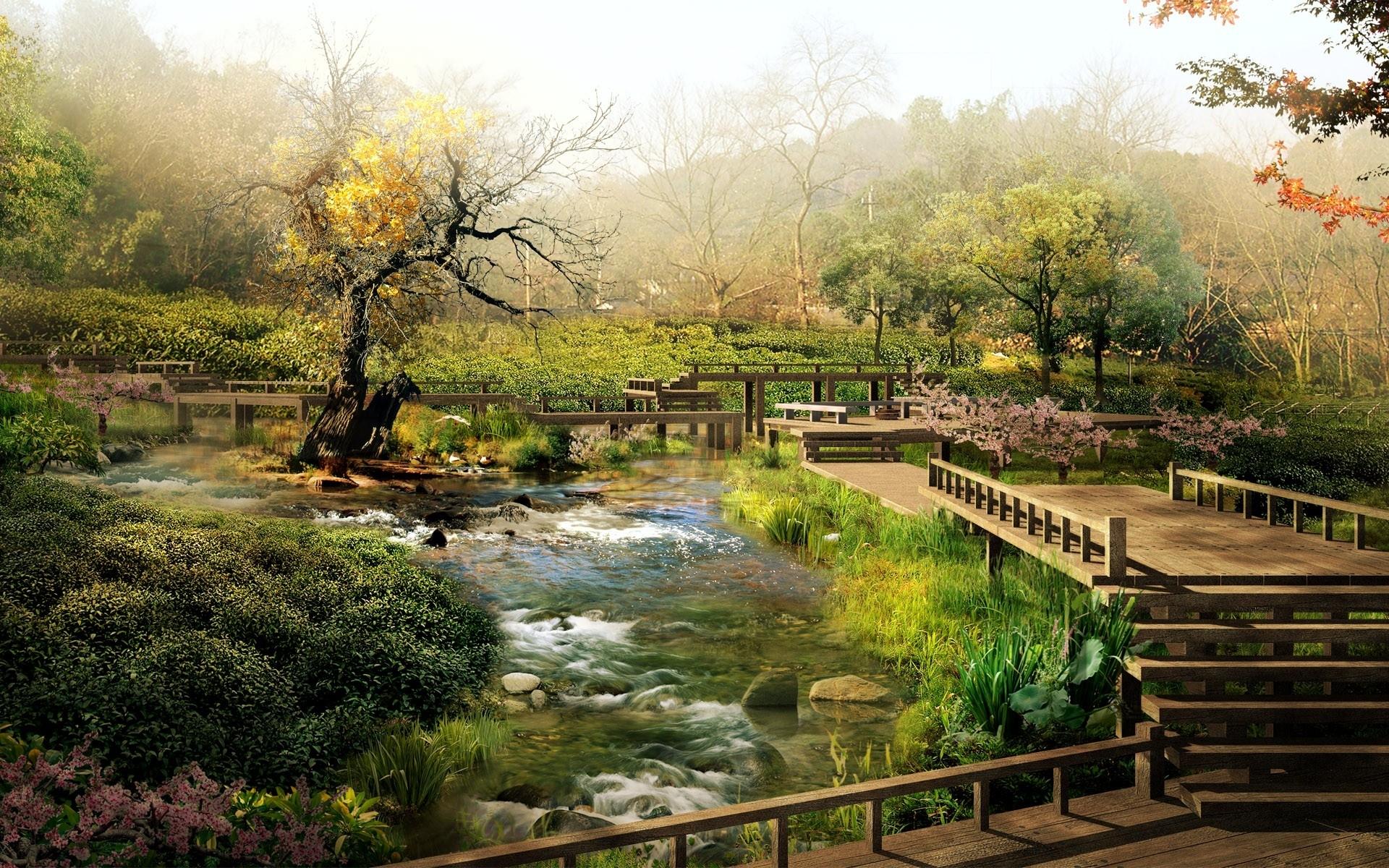 парк, мостики, ступеньки
