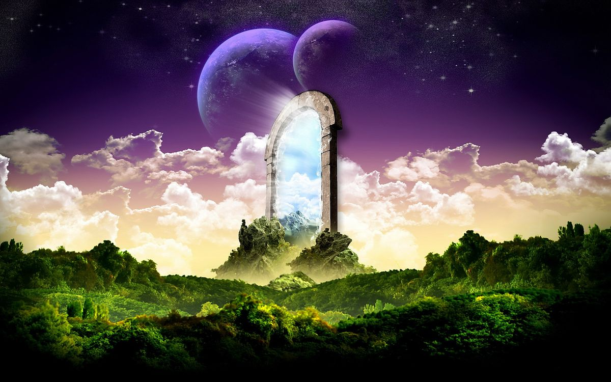 Фото бесплатно планеты, спутник, кусты, деревья, небо, облака, звезды, тучи, арка, будущее, скалы, камни, космос, фантастика, фантастика