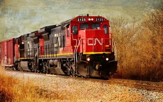Заставки поезд, 2125, красный, вагоны, железная, дорога, движение